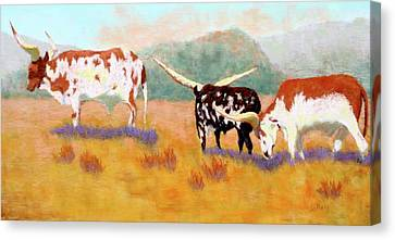 Headed For The Barn Canvas Print by Nancy Jolley