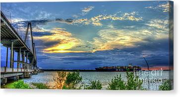 Island Stays Canvas Print - Headed Out To Sea The Arthur Ravenel Jr Bridge  Charleston Harbor South Carolina by Reid Callaway
