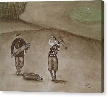 Heading For The Green ... Vintage Golfing Canvas Print by Kelly Mills