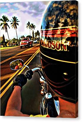Heading Out On Harley Canvas Print