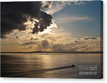 Coast Guard Canvas Print - Heading Out On Sunset Patrol by Mike Reid