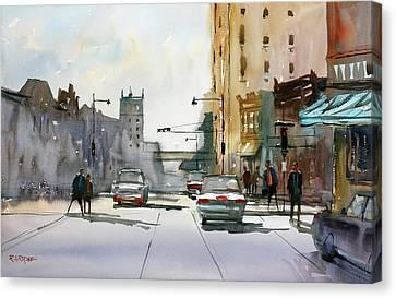 Heading West On College Avenue - Appleton Canvas Print by Ryan Radke