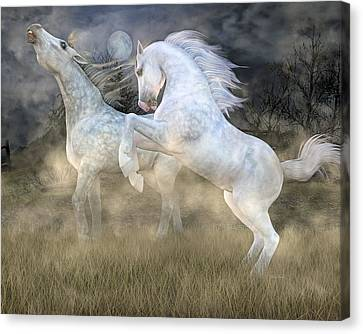 Headless Horseman Haunting On The Hill Canvas Print by Betsy Knapp