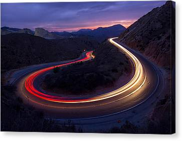 Headlights And Brake Lights Canvas Print by Karl Klingebiel