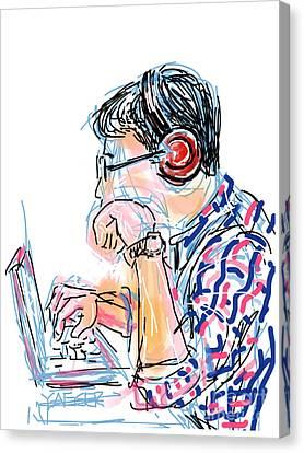 Headphones And Laptop Canvas Print by Robert Yaeger