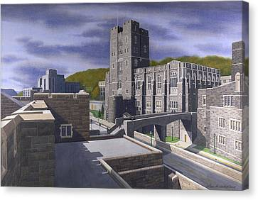 Headquarters Tower West Point Canvas Print by Glen Heberling