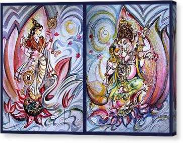 Healing Art - Musical Ganesha And Saraswati Canvas Print