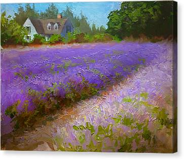 Impressionistic Lavender Field Landscape Plein Air Painting Canvas Print by Karen Whitworth