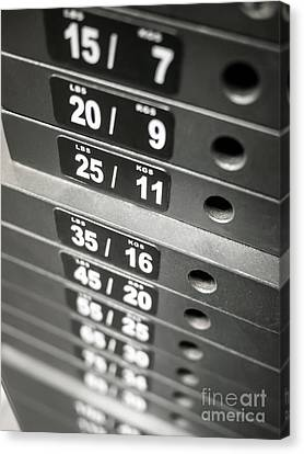 Healthclub Equipment Weight Plate Stack Canvas Print by Paul Velgos