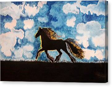 Hearing Thunder Canvas Print by Connie Valasco
