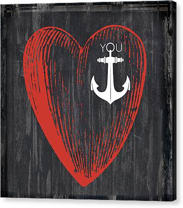 Heart Anchor Canvas Print by Brandi Fitzgerald