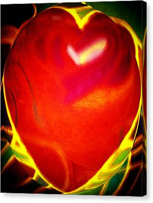 Heart Beating With Love Canvas Print by Brenda Adams