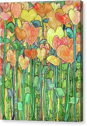 Canvas Print featuring the mixed media Heart Bloomies 1 - Golden by Carol Cavalaris