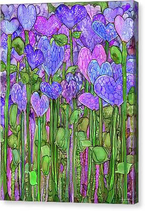 Canvas Print featuring the mixed media Heart Bloomies 1 - Purple by Carol Cavalaris
