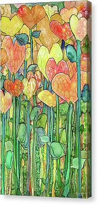 Canvas Print featuring the mixed media Heart Bloomies 2 - Golden by Carol Cavalaris
