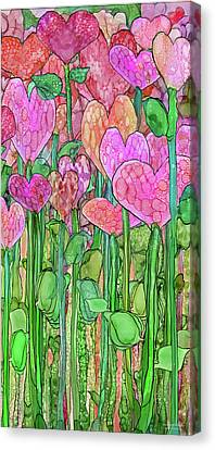 Canvas Print featuring the mixed media Heart Bloomies 2 - Pink And Red by Carol Cavalaris