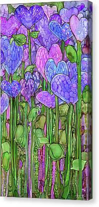 Canvas Print featuring the mixed media Heart Bloomies 2 - Purple by Carol Cavalaris