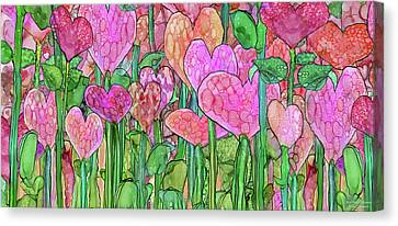 Canvas Print featuring the mixed media Heart Bloomies 4 - Pink And Red by Carol Cavalaris