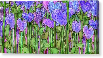 Canvas Print featuring the mixed media Heart Bloomies 4 - Purple by Carol Cavalaris