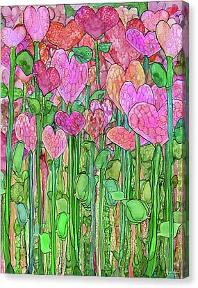 Canvas Print featuring the mixed media Heart Bloomies 1 - Pink And Red by Carol Cavalaris