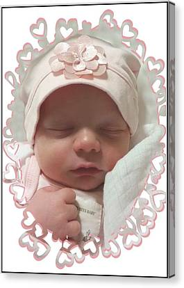 Heart Border On Newborn Girl Canvas Print