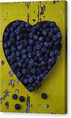 Heart Box With Blueberries Canvas Print by Garry Gay