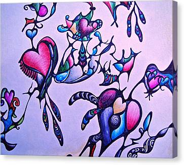 Canvas Print featuring the drawing Heart Connections by Lori Miller