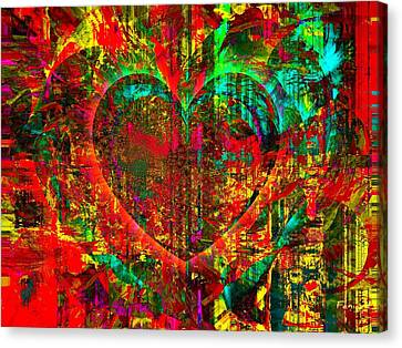 Canvas Print featuring the mixed media Heart In Flame by Fania Simon