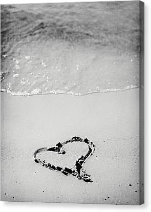 Heart In Sand In Black And White Canvas Print by Lisa Russo