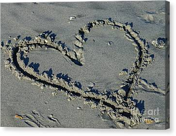 Heart In The Sand Canvas Print by Jennifer White