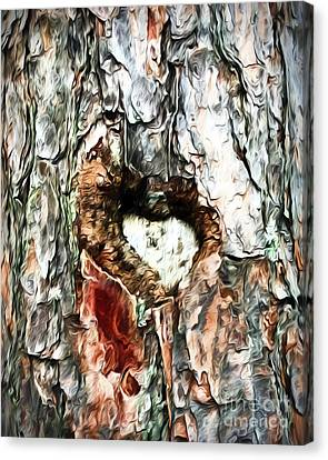 Canvas Print featuring the photograph Heart In The Tree by Kerri Farley