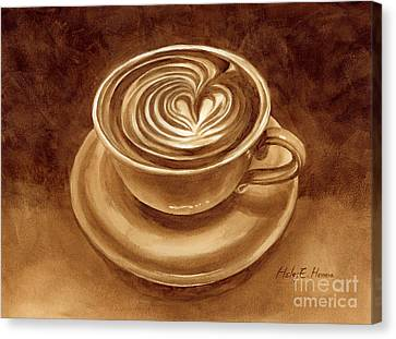 Canvas Print featuring the painting Heart Latte by Hailey E Herrera