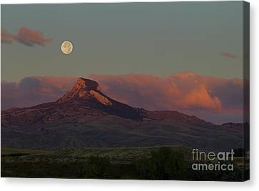 Heart Mountain And Full Moon-signed-#0273  #0273 Canvas Print