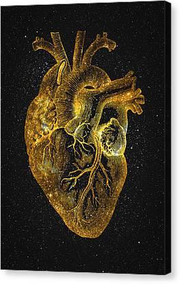Canvas Print featuring the digital art Heart Nebula by Taylan Apukovska