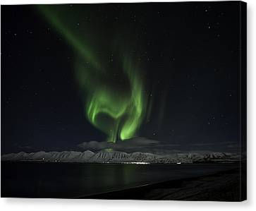 Heart Of Northern Lights Canvas Print by Frodi Brinks