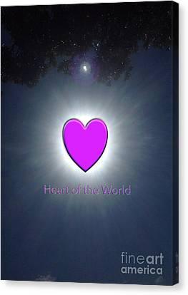 Brightness Of The Heart Canvas Print - Heart Of The World by Karen Moren