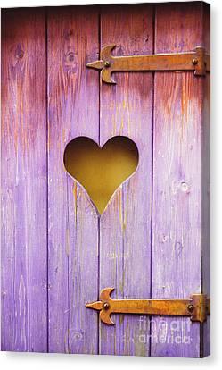 Heart On A Wooden Window Canvas Print by Bernard Jaubert