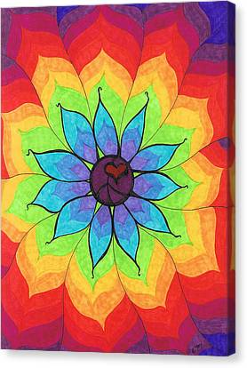 Heart Peace Mandala Canvas Print by Cheryl Fox