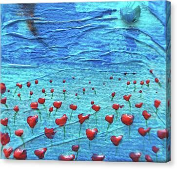 Heart Poppies Canvas Print by Shawna Scarpitti