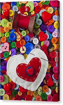 Heart Pushpin Chusion  Canvas Print by Garry Gay