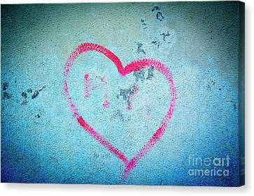 Heart Shape On A Wall Canvas Print by Bernard Jaubert