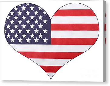 American Independance Canvas Print - Heart Shape Usa Flag by Milleflore Images