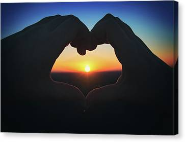 Canvas Print featuring the photograph Heart Shaped Hand Silhouette - Sunset At Lapham Peak - Wisconsin by Jennifer Rondinelli Reilly - Fine Art Photography