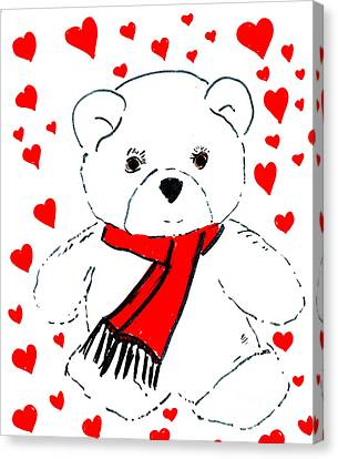 Heart Teddy Canvas Print by Sonya Chalmers