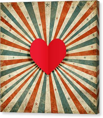 Celebrated Canvas Print - Heart With Ray Background by Setsiri Silapasuwanchai