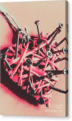 Hearts And Screws Canvas Print