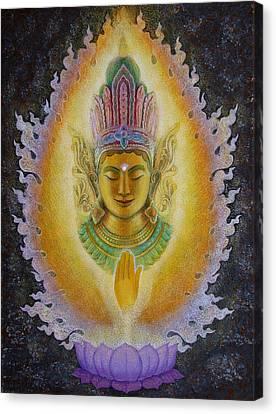 Heart's Fire Buddha Canvas Print by Sue Halstenberg