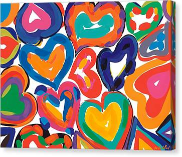 Bold Colors Canvas Print - Hearts In Motion by Sarah Gillard