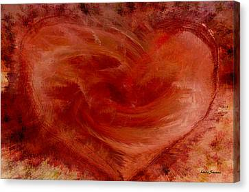 Hearts Of Fire Canvas Print by Linda Sannuti