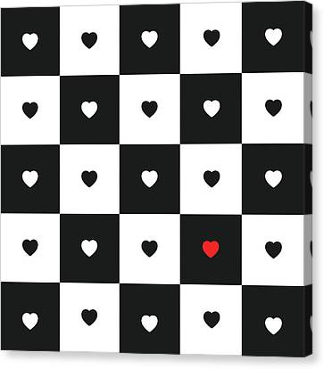 Hearts On Black And White Classic Chessboard Canvas Print by Elena Chepel